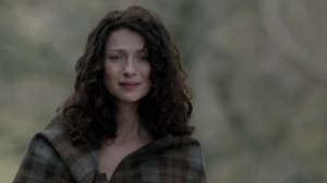 Claire at Craigh na Dun watching Jamie leave